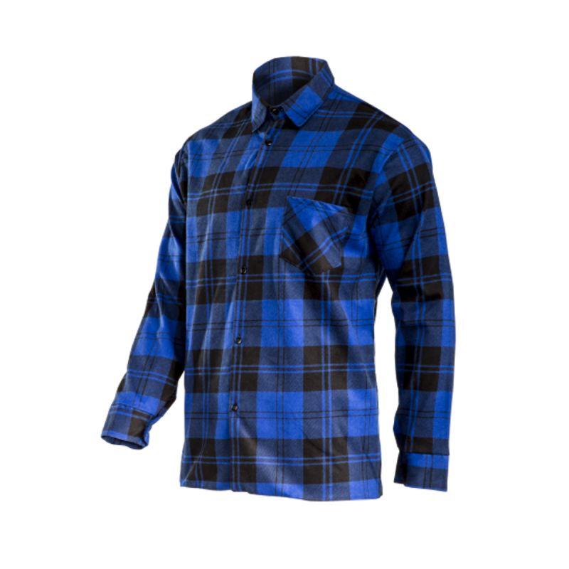 Camasa flanelata groasa Lahti Pro, marimea L, bumbac, model carouri, Albastru/Negru 2021 shopu.ro