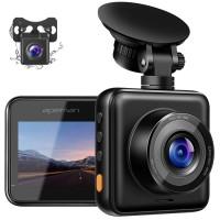 Camera auto DVR dubla Apeman, 180 mAh, Full HD, unghi 170 grade, detector miscare, G-Sensor, mod parcare