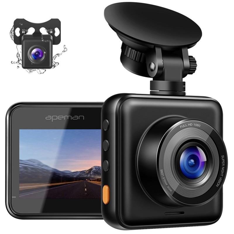 Camera auto DVR dubla Apeman, 180 mAh, Full HD, unghi 170 grade, detector miscare, G-Sensor, mod parcare 2021 shopu.ro