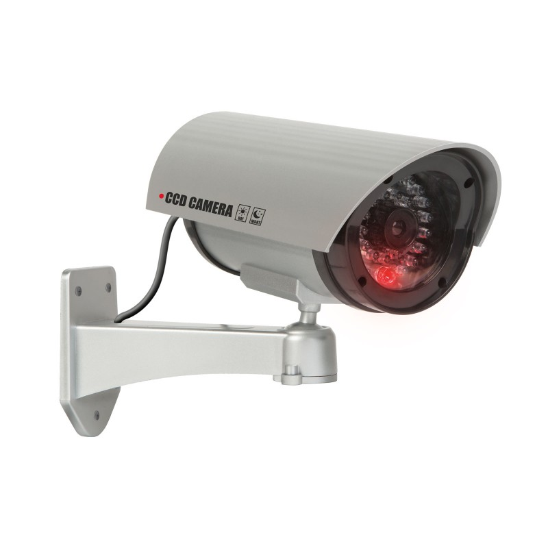 Camera supraveghere falsa Deligt, 210 x 140 x 80 mm, 2 x 1.5 V AA, plastic, Argintiu 2021 shopu.ro