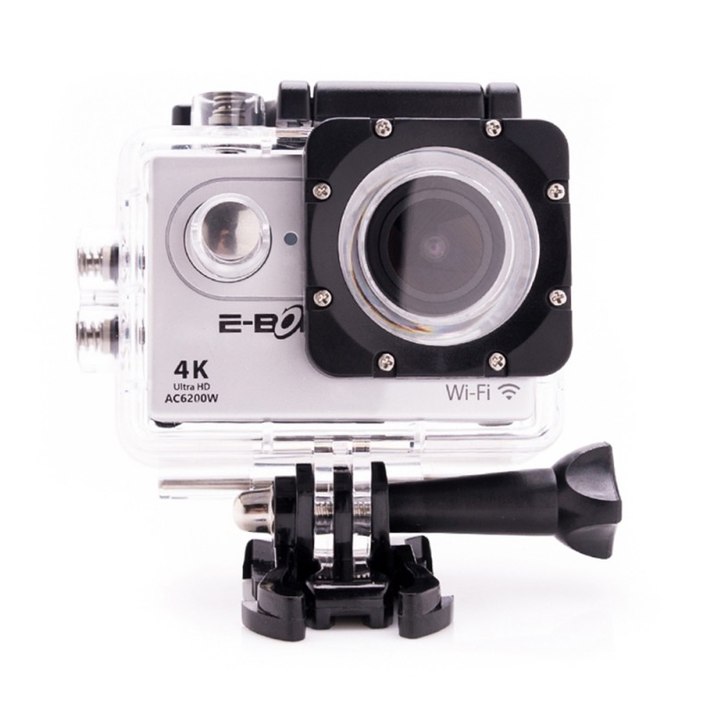Camera video sport E-Boda, 4K Ultra HD, Wi-Fi, 2 inch, ecran LCD, MicroSD, HDMI, rezistenta la apa, accesorii incluse, Gri 2021 shopu.ro