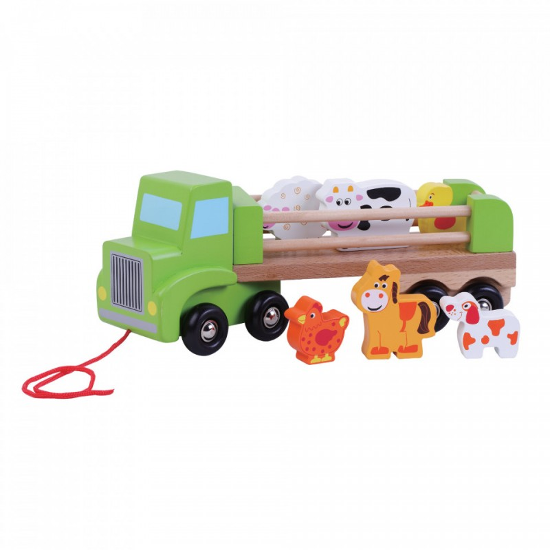 Jucarie pentru bebelusi Camion ferma Jumini, 29.5 x 9 x 10 cm, lemn, animale incluse, 18 luni+, Multicolor 2021 shopu.ro