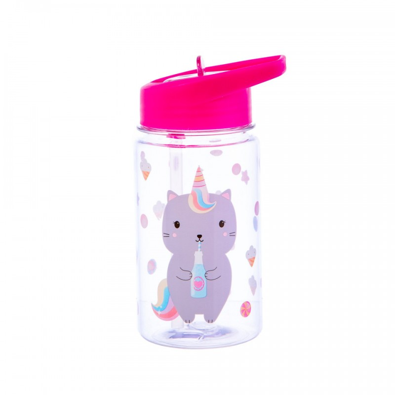 Cana cu pai Sass & Belle, AS, 400 ml, 8.5 x 18 cm, 6 luni+, model luna caticorn 2021 shopu.ro