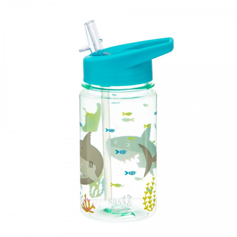 Cana cu pai Sass & Belle, AS, 400 ml, 8.5 x 18 cm, 6 luni+, model Shelby the shark 2021 shopu.ro