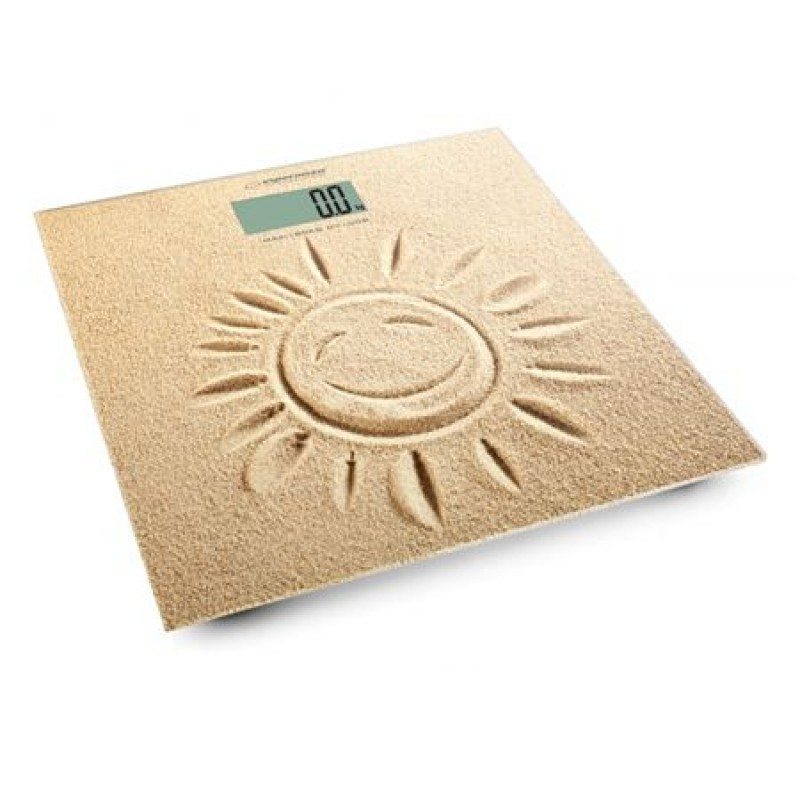 Cantar digital Sunshine Esperanza, ecran LED, 30 x 30 mm, sticla, maxim 180 kg, model nisip, Bej 2021 shopu.ro