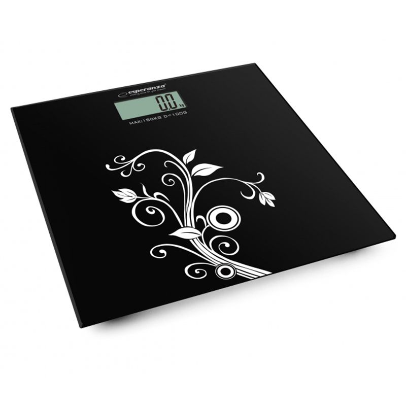 Cantar digital de baie Esperanza Yoga, 180 kg, platforma sticla, Negru 2021 shopu.ro