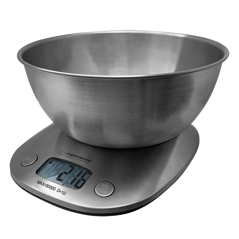 Cantar de bucatarie Lychee Esperanza, 2 l, bol otel inoxidabil, maxim 5 kg, functie tara, Argintiu 2021 shopu.ro