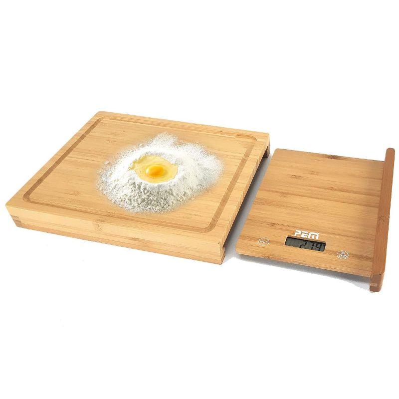 Cantar bucatarie Pem, LCD, fund lemn bambus, maxim 5 kg, 38 cm, baterie inclusa 2021 shopu.ro