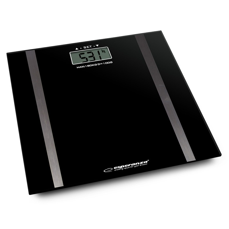Cantar digital Samba Esperanza, 2 x AAA, sticla, maxim 180 kg, Negru 2021 shopu.ro