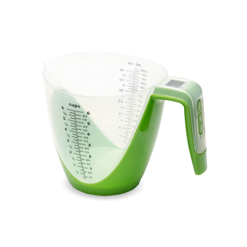 Cantar electronic pentru bucatarie E-Boda, 2 g-5 kg, 1.5 l, plastic/otel, Verde 2021 shopu.ro