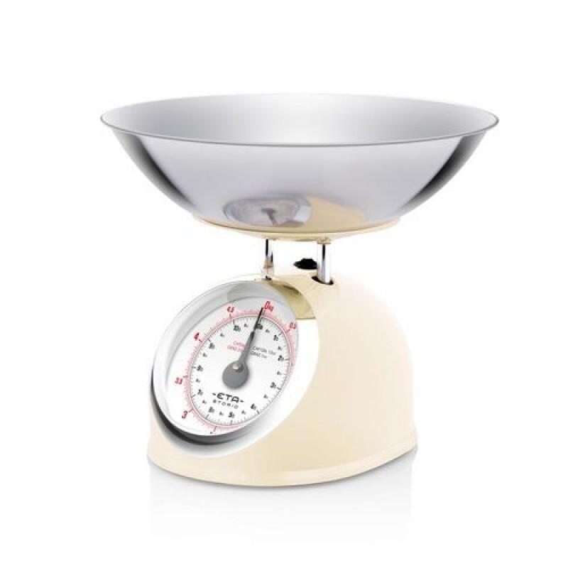 Cantar mecanic de bucatarie Eta Storio, vas 5 l, otel inoxidabil, maxim 5 kg, design retro, Bej 2021 shopu.ro