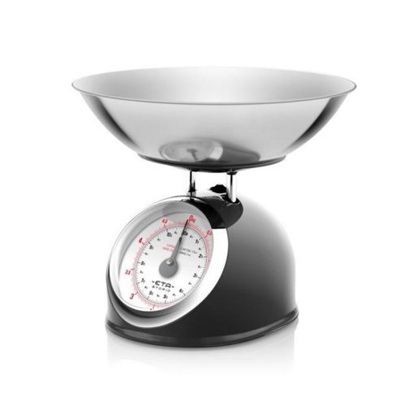 Cantar mecanic de bucatarie Eta Storio, vas 5 l, otel inoxidabil, maxim 5 kg, design retro, Negru 2021 shopu.ro
