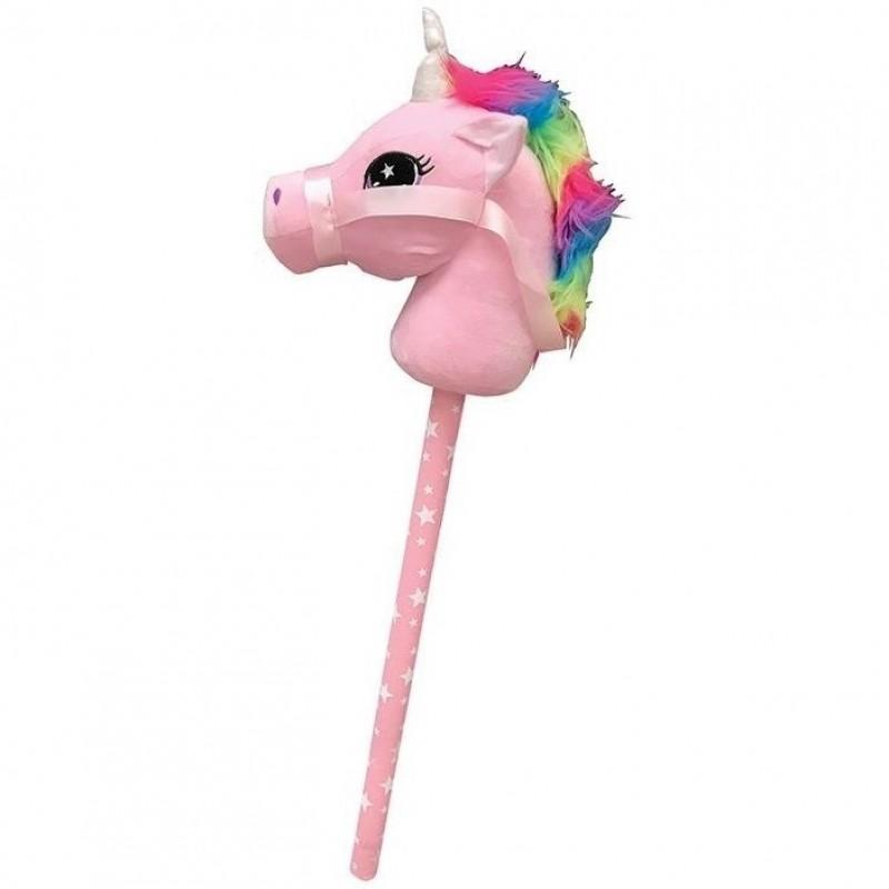 Jucarie de plus cap de unicorn Keycraft, tija lemn, 70 cm, 3 ani+, Roz 2021 shopu.ro