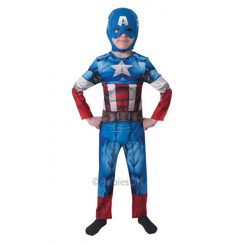 Costum pentru baieti Captain America, varsta 7-8 ani, marime L 2021 shopu.ro
