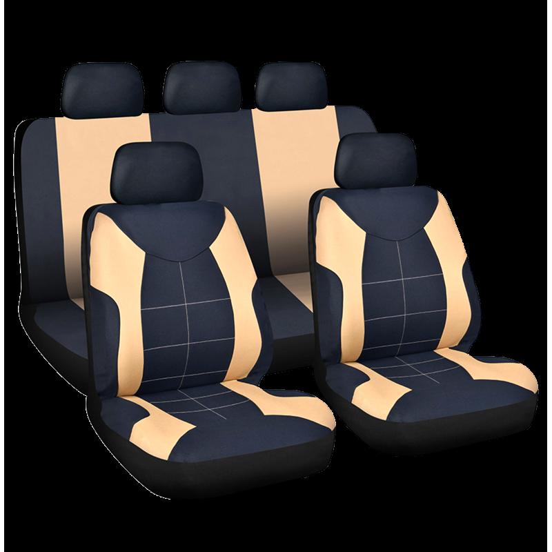 Set huse universale pentru scaune auto Elegance Carguard, 9 piese, poliester/burete, Bej/Negru 2021 shopu.ro