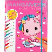 Carte de colorat + 10 Carioci Cute Friends Manga Depesche, Multicolor