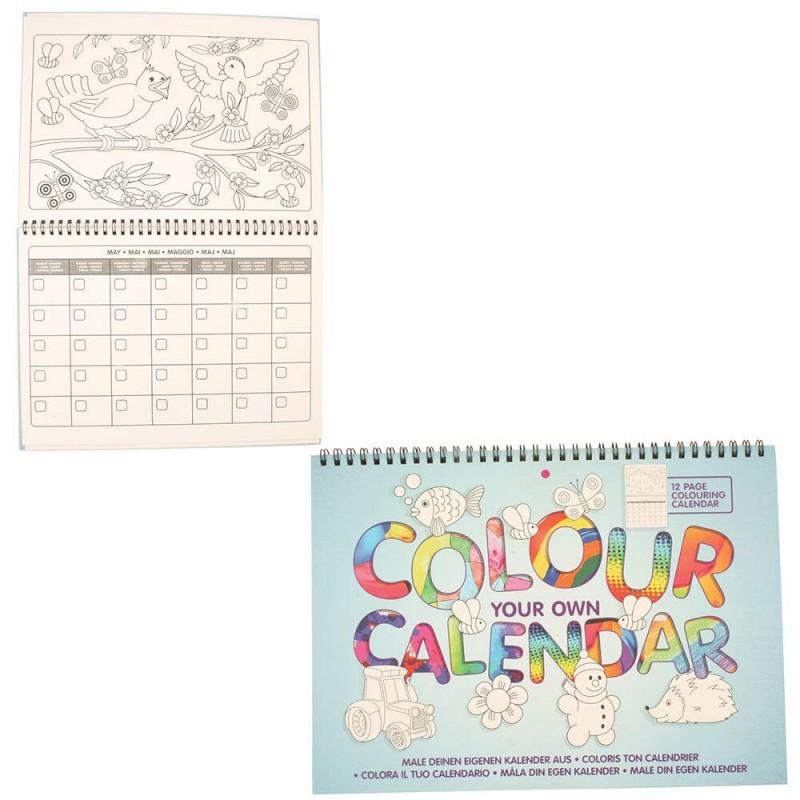 Carte de colorat Calendarul meu Keycraft, 12 file, 30 cm, 4 ani+ 2021 shopu.ro