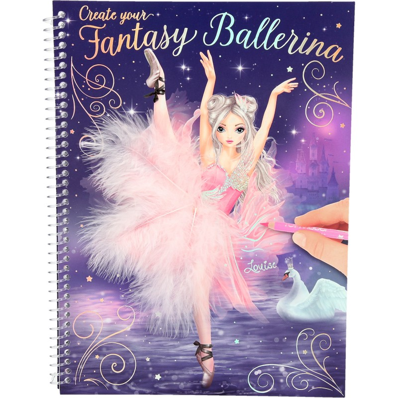 Carte de colorat Create your Fantasy Model Ballerina Depesche PT10195, 3 pagini autocolante