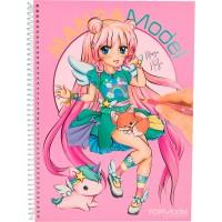 Carte de colorat + stickere Manga Model Depesche, Multicolor