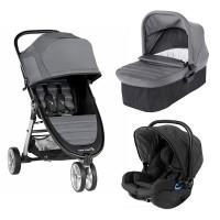Carucior City Mini 2 Slate Swandoo Baby Jogger, sistem 3 in 1, 0-36 luni, landou inclus, scaun auto, adaptor, Gri
