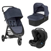 Carucior City Mini GT2 Carbon sistem 3 in 1 Baby Jogger, landou inclus, scaun auto, adaptor, 0 luni+, Albastru/Negru