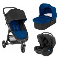 Carucior City Mini GT2 Windsor sistem 3 in 1 Baby Jogger, landou inclus, scaun auto, adaptor, 0 luni+, Albastru