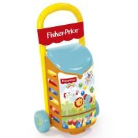 Carucior cu bile Fisher Price, plastic rezistent, 19 bile colorate, 56 x 30 x 20 cm, 18 luni+