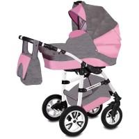 Carucior Flamingo Easy Drive 3 in 1 Vessanti, 0 luni+, Gray/Pink
