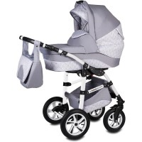 Carucior Flamingo Easy Drive 3 in 1 Vessanti, suporta 10 kg, 0 luni+, Light Gray