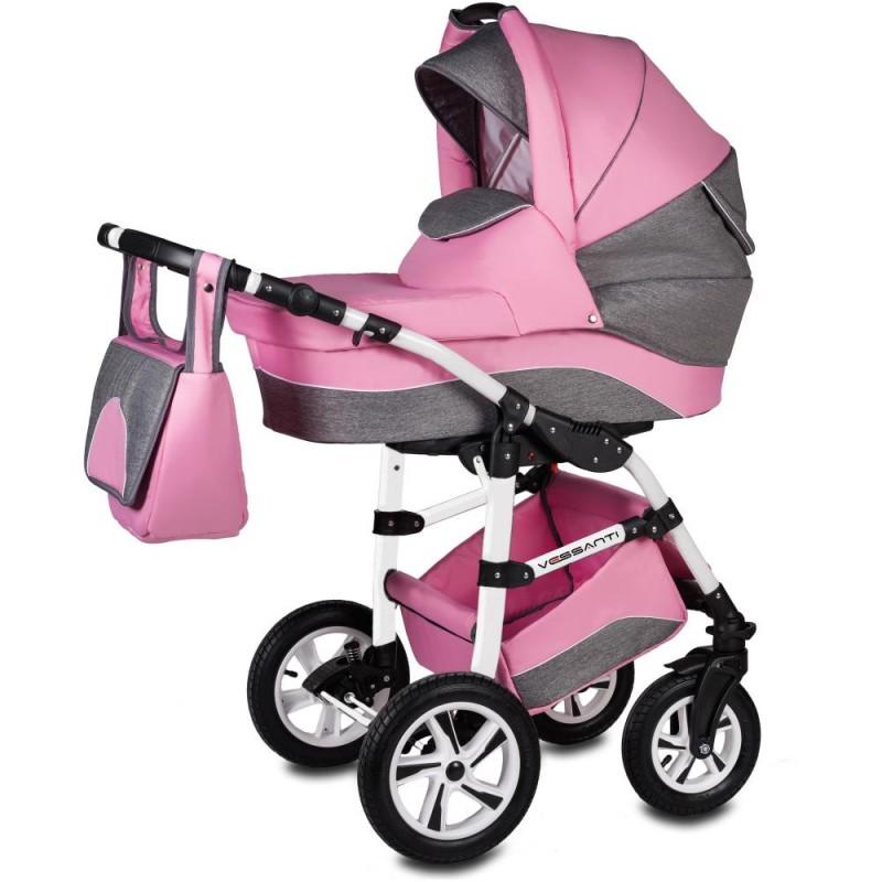 Carucior Flamingo Easy Drive 3 in 1 Vessanti, suporta 10 kg, 0 luni+, Pink