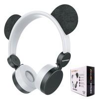 Casti audio Fashion Kids, mufa jack 3.5 mm, banda reglabila, model panda