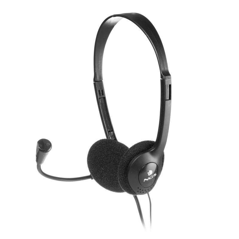 Casca multimedia cu microfon NGS, control volum, Negru 2021 shopu.ro