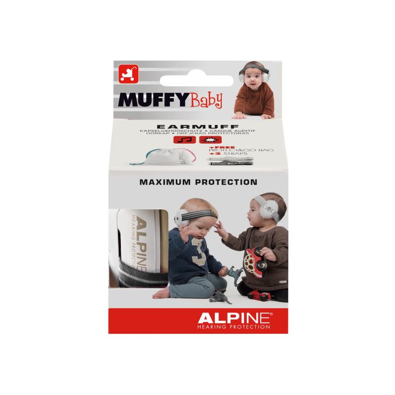 Casti antifonice pentru bebelusi Alpine Muffy, nivel atenuare 36 dB, Baby Black