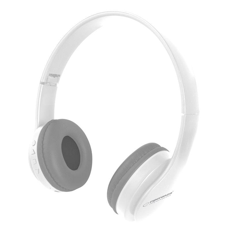 Casti audio Banjo Esperanza, Bluetooth 5.0, 250 mAh, microfon incorporat, banda reglabila, Alb 2021 shopu.ro