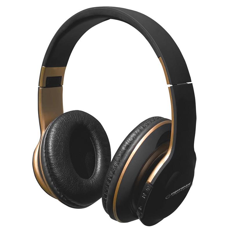 Casti stereo Shange Esperanza, Bluetooth 5.0, raza actiune 10 m, banda reglabila, Negru/Auriu 2021 shopu.ro