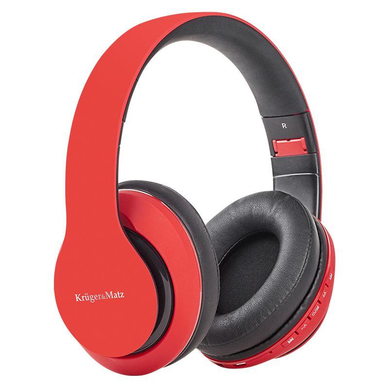 Casti audio Bluetooth Street 2 Kruger & Matz, bluetooth 4.1, 300 mAh, plastic, microfon incorporat, Rosu 2021 shopu.ro