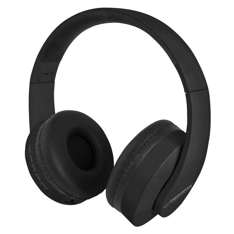 Casti audio Suite Esperanza, Bluetooth, 32 ohm, microfon incorporat, banda reglabila, raza actiune 10 m, Negru 2021 shopu.ro