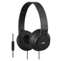 Casti audio cu microfon JVC, compatibile cu iPhone, Android, Negru