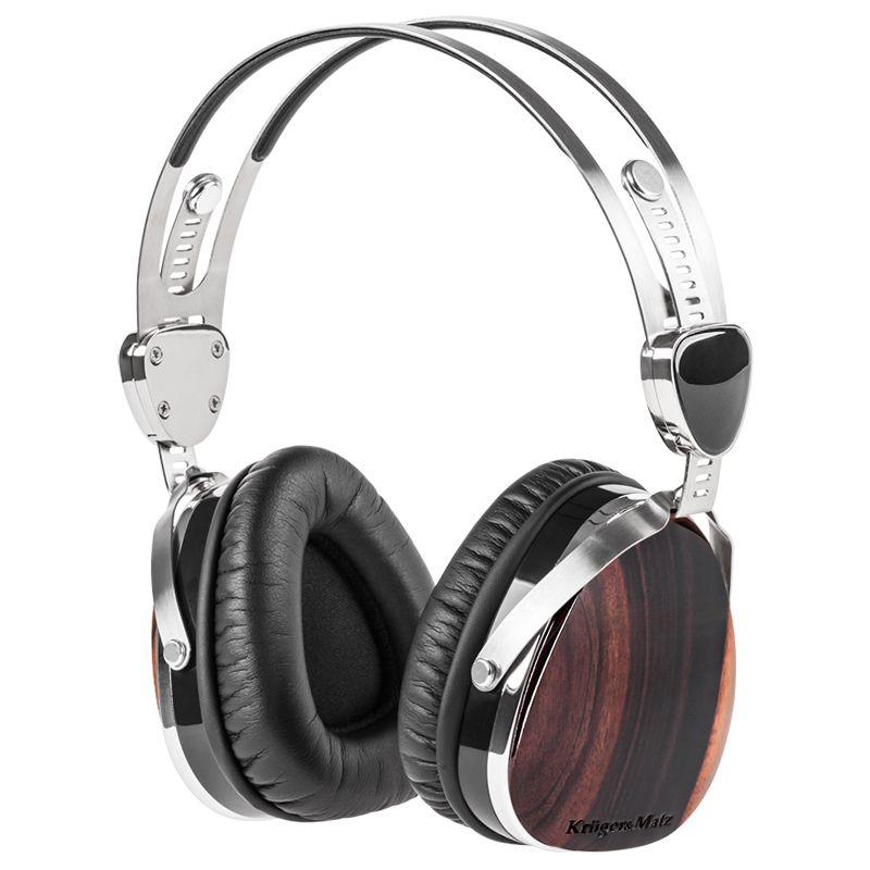 Casti audio Kruger & Matz, jack 3.5 mm, carcasa lemn, cablu 1.2 m, difuzor dinamic 2021 shopu.ro