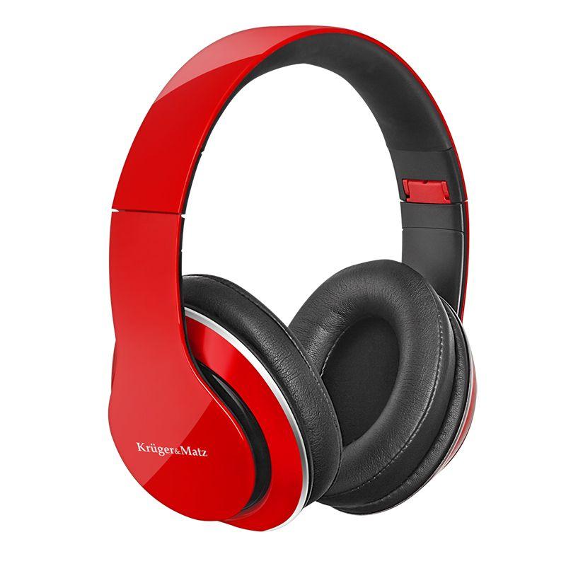 Casti Audio Street 2 Kruger Matz, aparatoare de urechi detasabile, Rosu/Negru 2021 shopu.ro