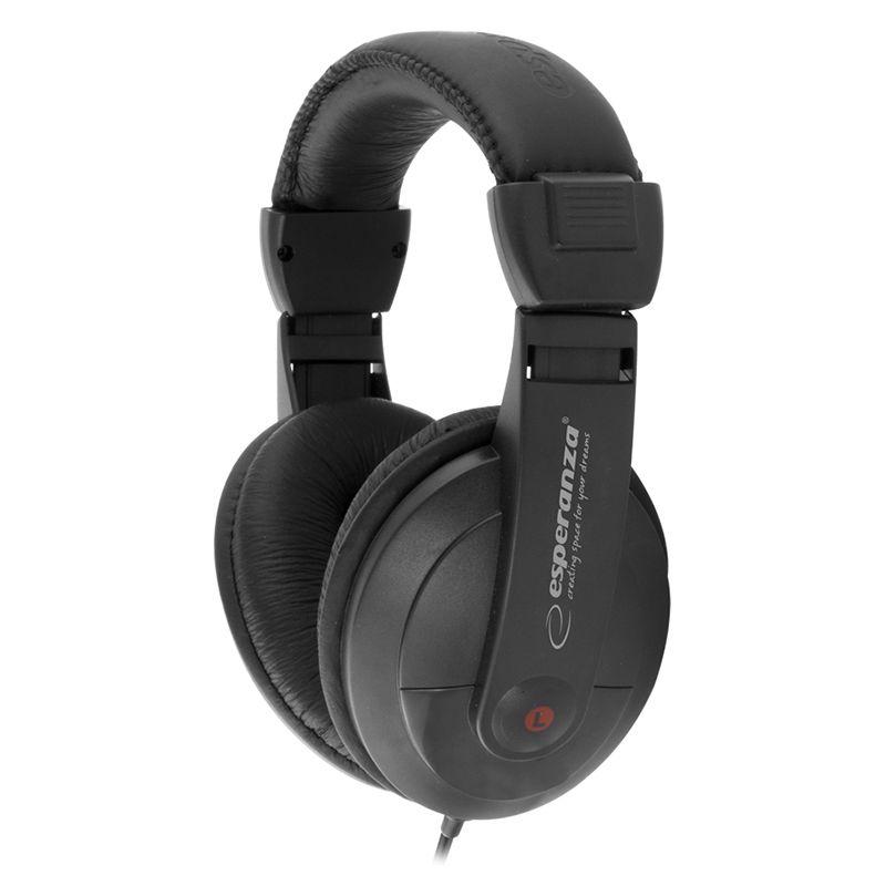 Casti audio stereo Reggae Esperanza, 32 Ohm, adaptor 3.5/6.3mm, Negru 2021 shopu.ro