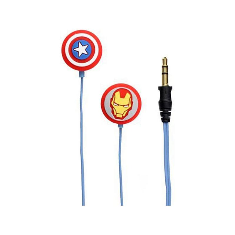 Casti Avengers Iron Man&Captain America Licentiate, cu fir, Albastru