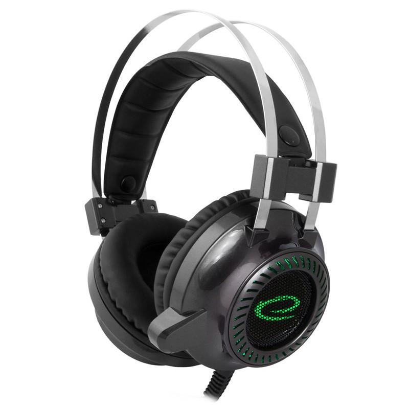 Casti gaming Toxin Esperanza, LED, 2 x jack 3.5 mm, microfon incorporat, cablu 2 m, Negru/Verde 2021 shopu.ro