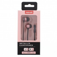 Casti in ear Metallix Maxell, 3.5 mm, microfon, Roz