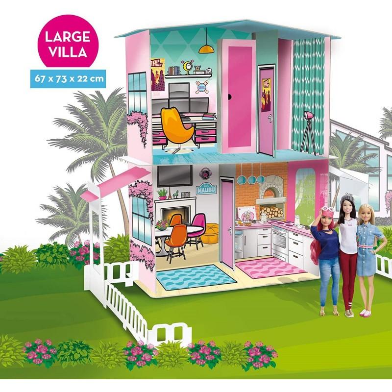 Casuta pentru papusi Barbie Lisciani, piese mini-mobilier incluse, 73 x 67 x 22 cm, 3 ani+