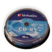 Pachet CD-R Verbatim, capacitate 700 MB/80 min, viteza scriere 52X, 10 bucati