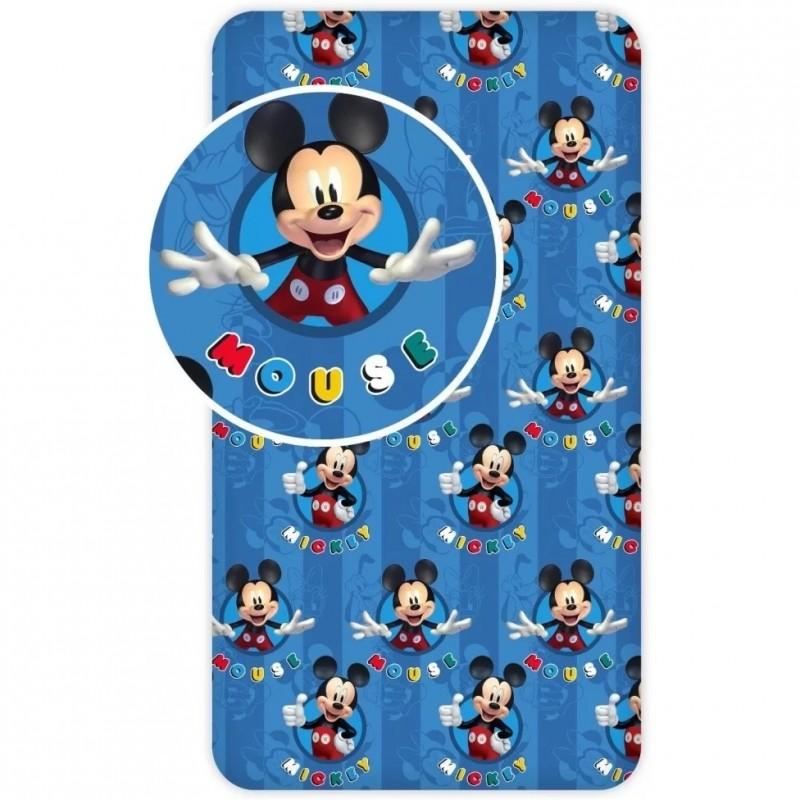 Cearceaf cu elastic Mickey SunCity, 90 x 200 cm, bumbac, Albastru