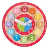 Ceas colorat din lemn, 2.5 x 22.5 x 22.5 cm, 18 luni+