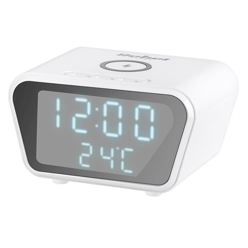 Ceas cu alarma Rebel, 10 W, 110 x 79 x 65 mm, afisaj LED, incarcare inductiva, Alb