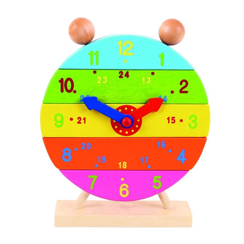 Ceas curcubeu, piese detasabile pictate in culori vii, 16 x 25 x 5 cm